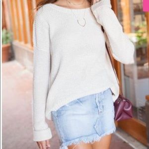 Waffle sweater in cream (oversized)